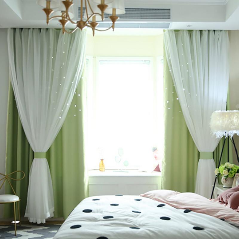 doublelayer starry blackout curtains floor curtain
